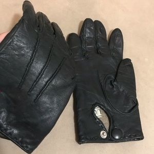 GUCCI - Leather driving gloves, cashmere lining